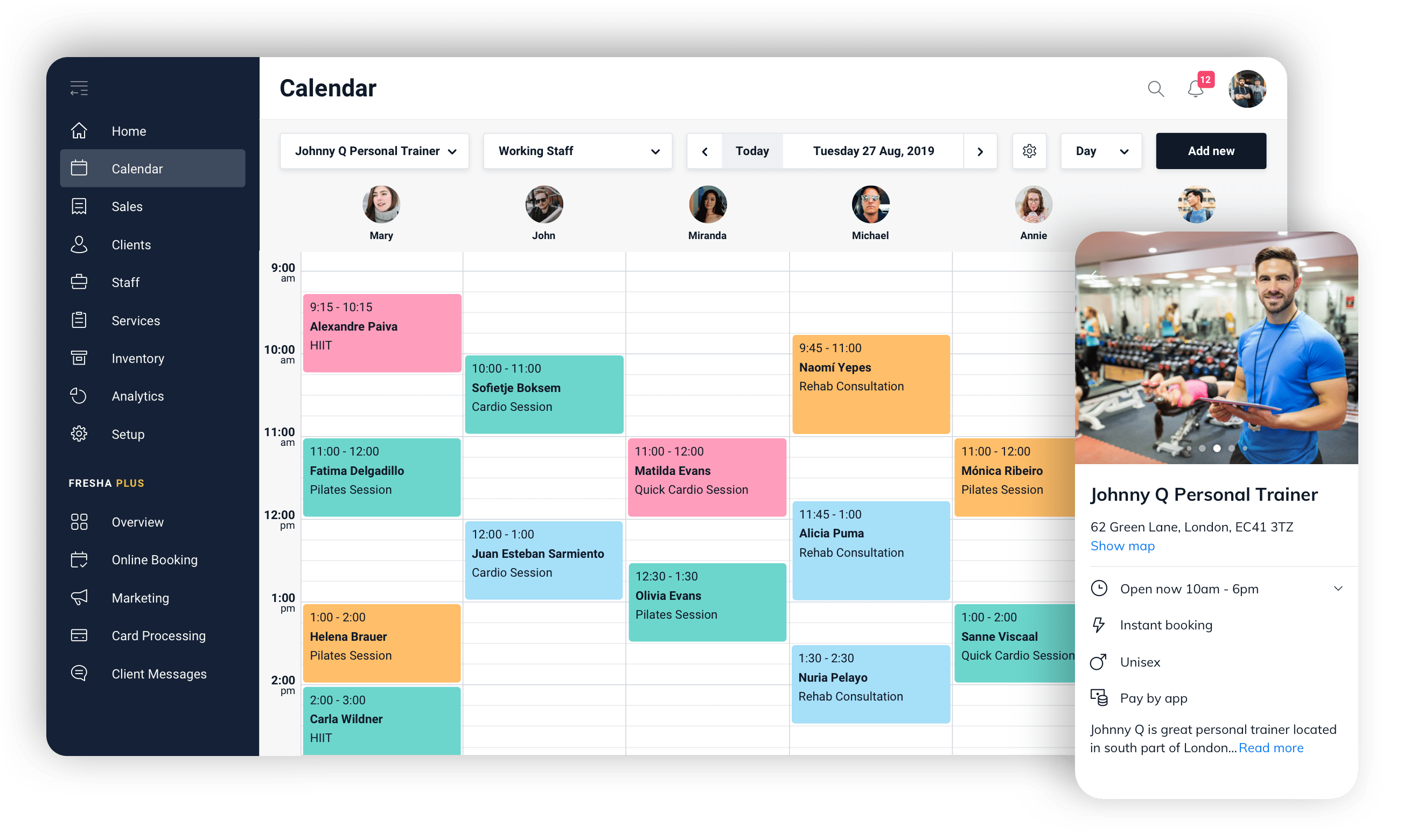 Personal Trainer free booking software calendar