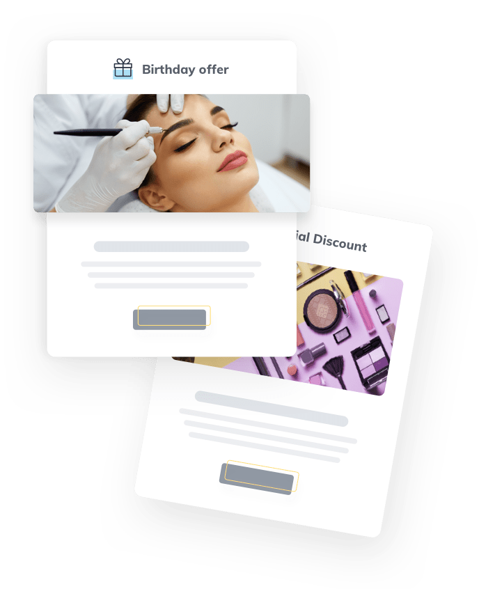 Eyebrows & Lashes marketing automation & smart online marketing software, newsletters, sms and push messages